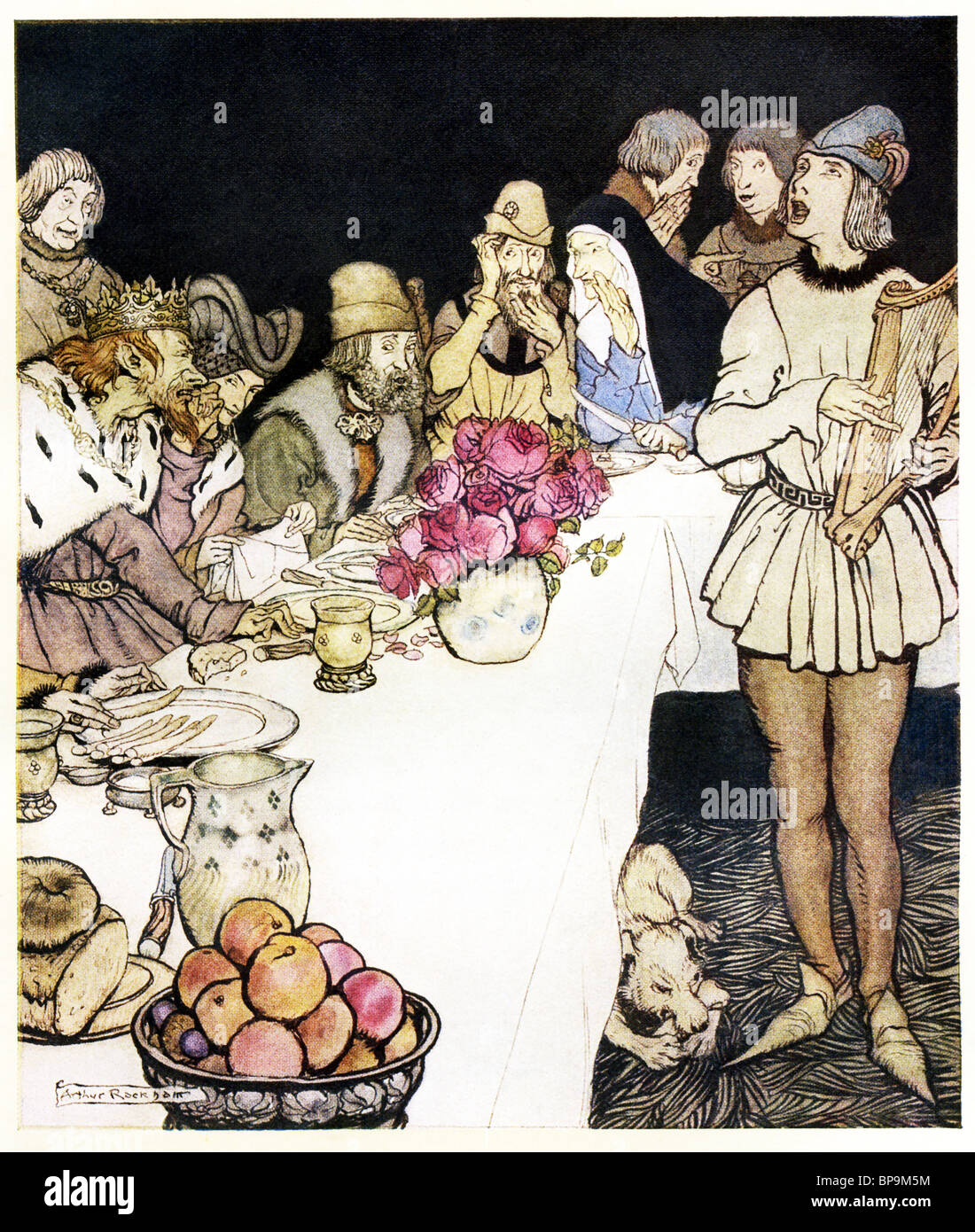 This 1917 illustration by Arthur Rackham shows a great feast that King Mark made and to which Elliot the harper Stock Photo