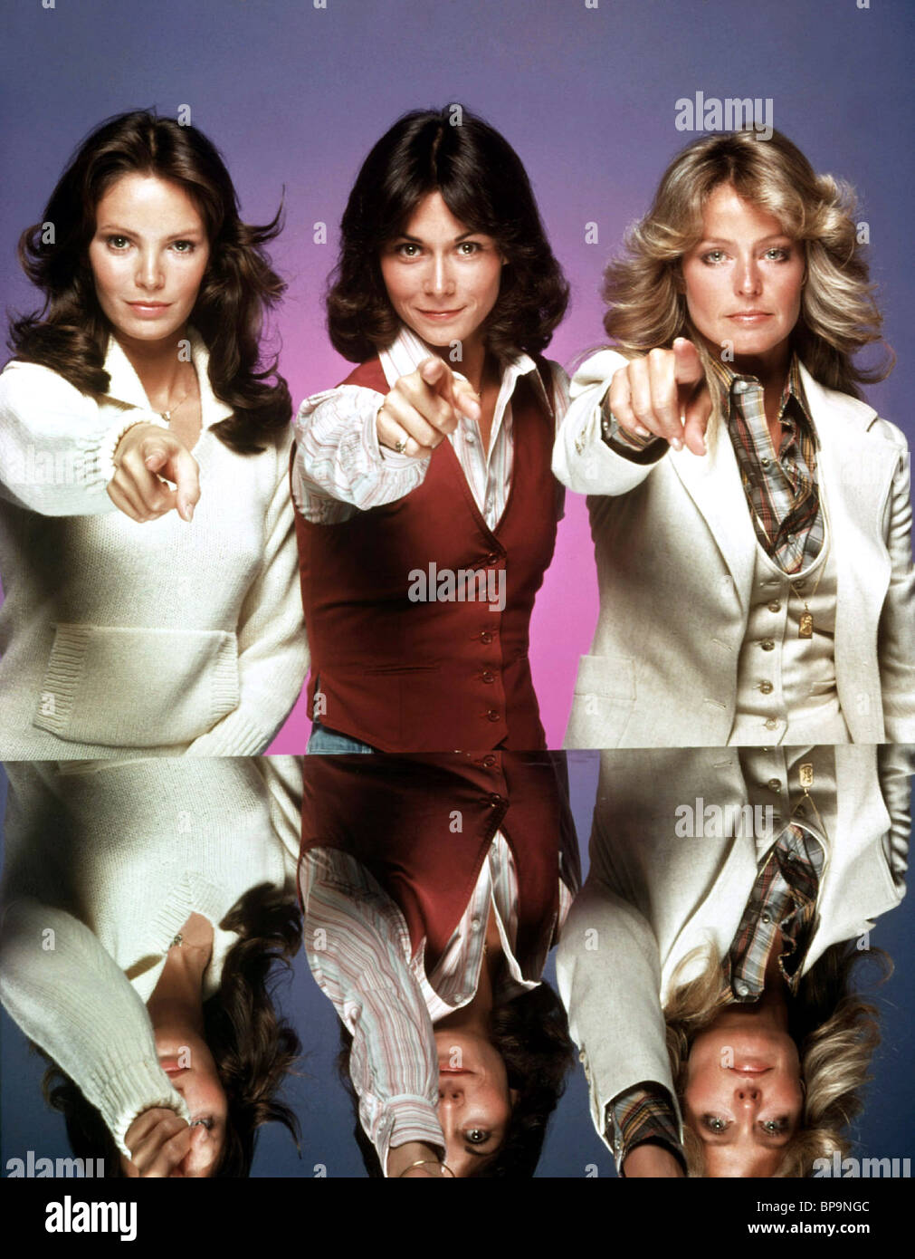 JACLYN SMITH, KATE JACKSON, FARRAH FAWCETT, CHARLIE'S ANGELS, 1976 Stock Photo