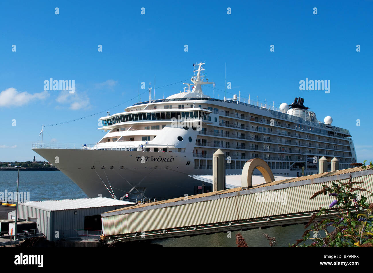 ' The World ' Luxury cruise liner docked at the Pier Head in Liverpool, UK - Stock Image