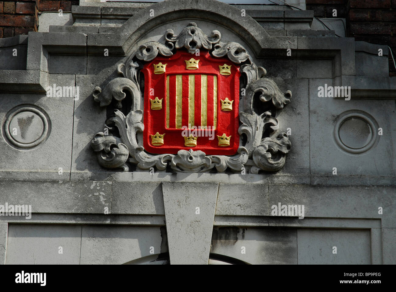 Peterhouse College crest in the university city of Cambridge - Stock Image