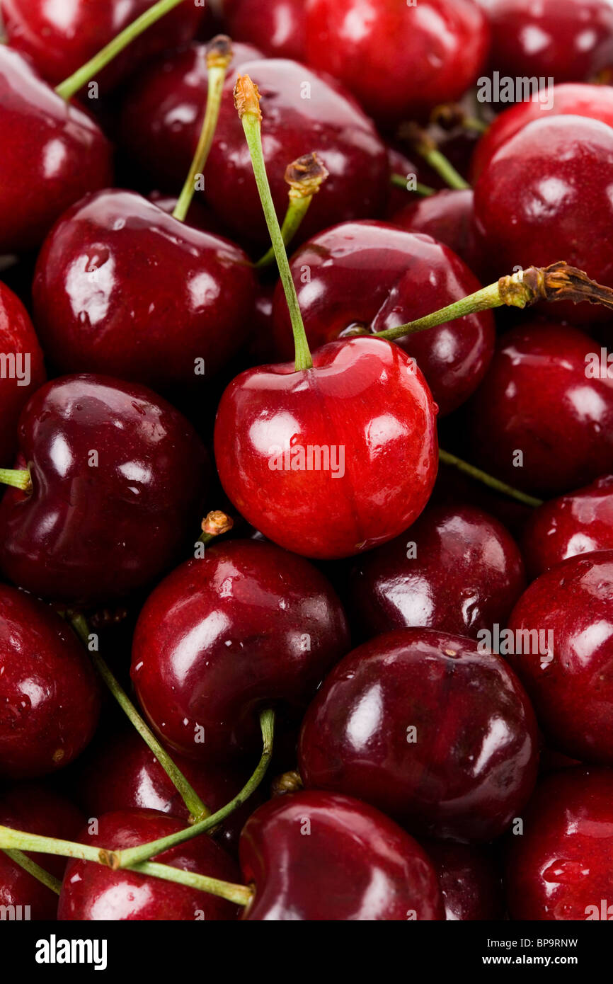Red Cherry close up for background - Stock Image