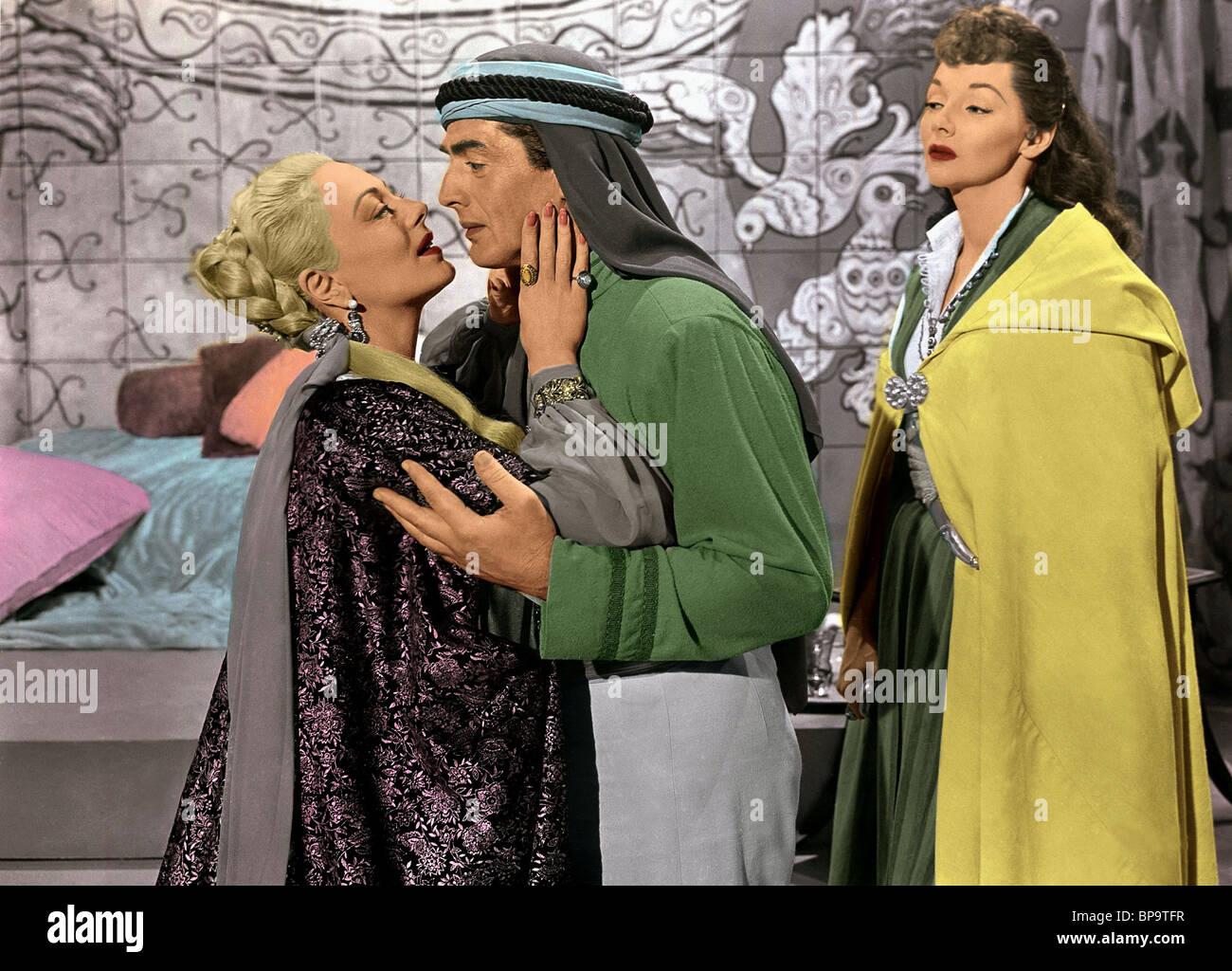 VIRGINIA FIELD, VICTOR MATURE, MARI BLANCHARD, THE VEILS OF BAGDAD, 1953 Stock Photo