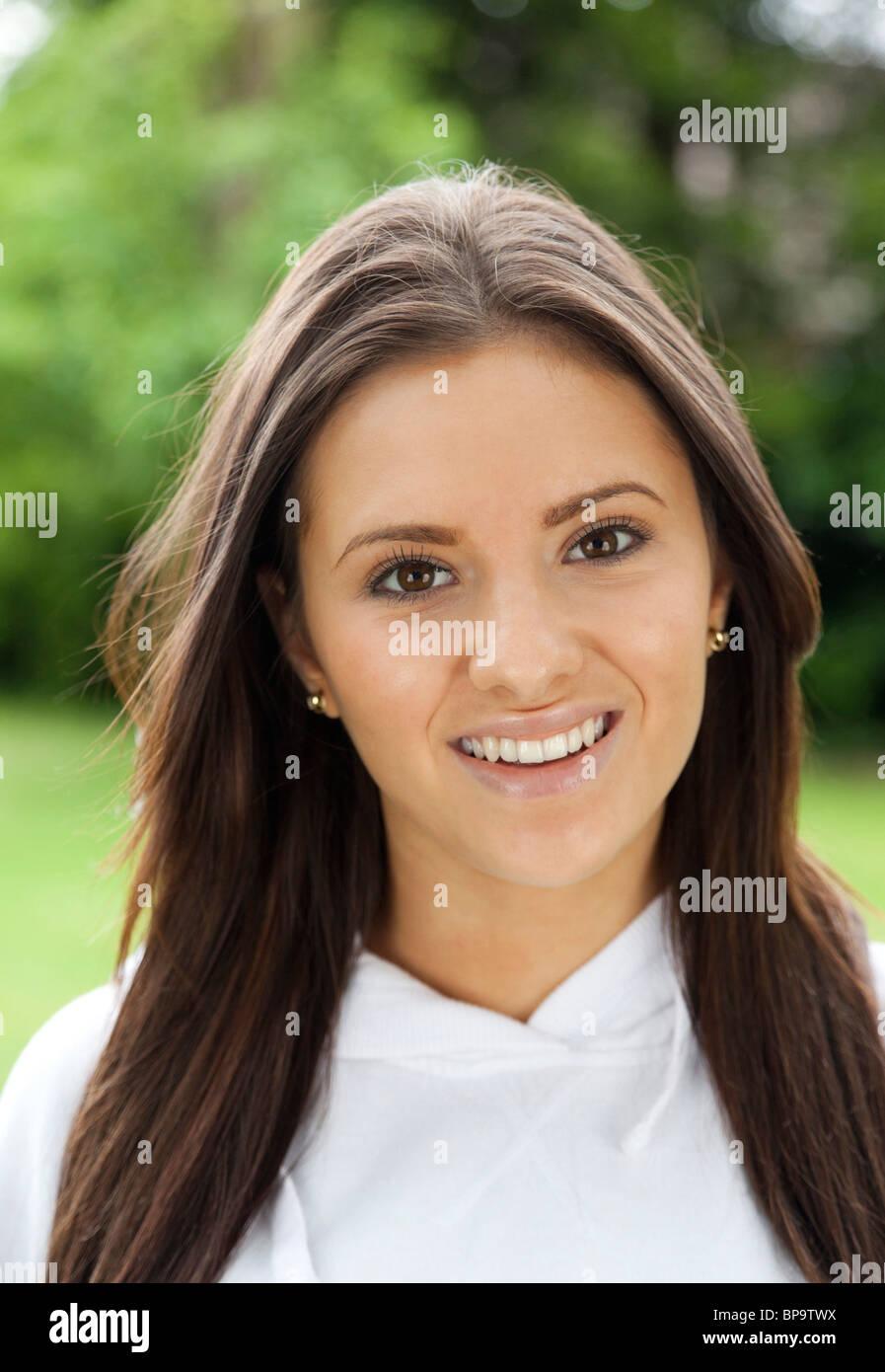 portrait of teenage girl outside - Stock Image