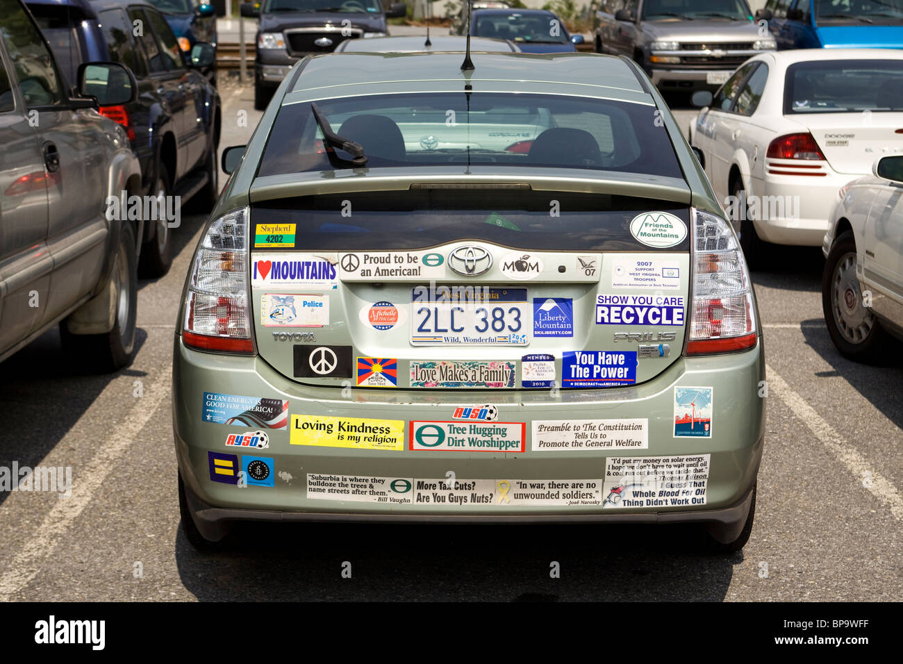Toyota prius hybrid car with many bumper stickers usa stock image