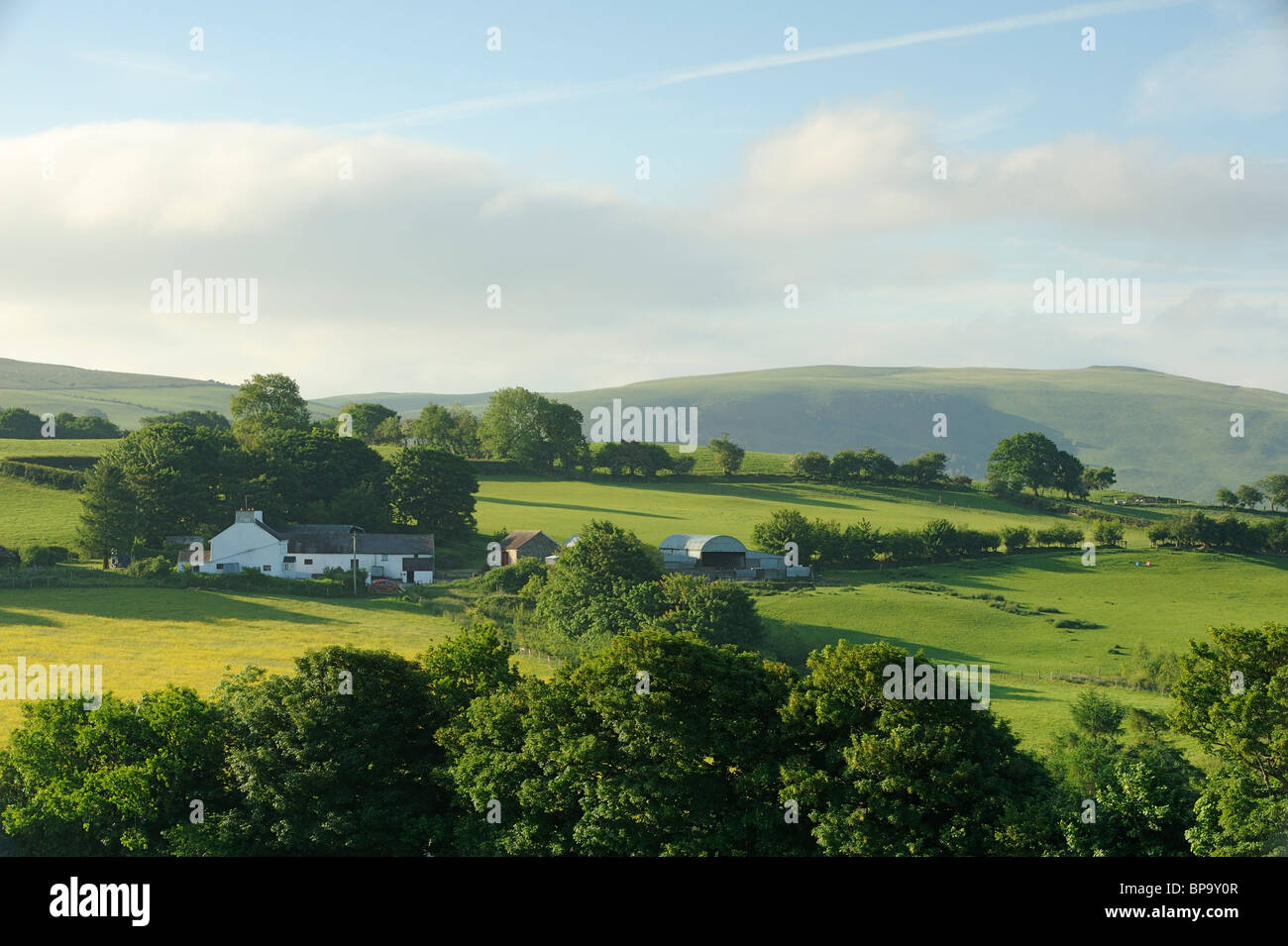 A farm amongst green hills in Caio, Carmarthenshire. - Stock Image