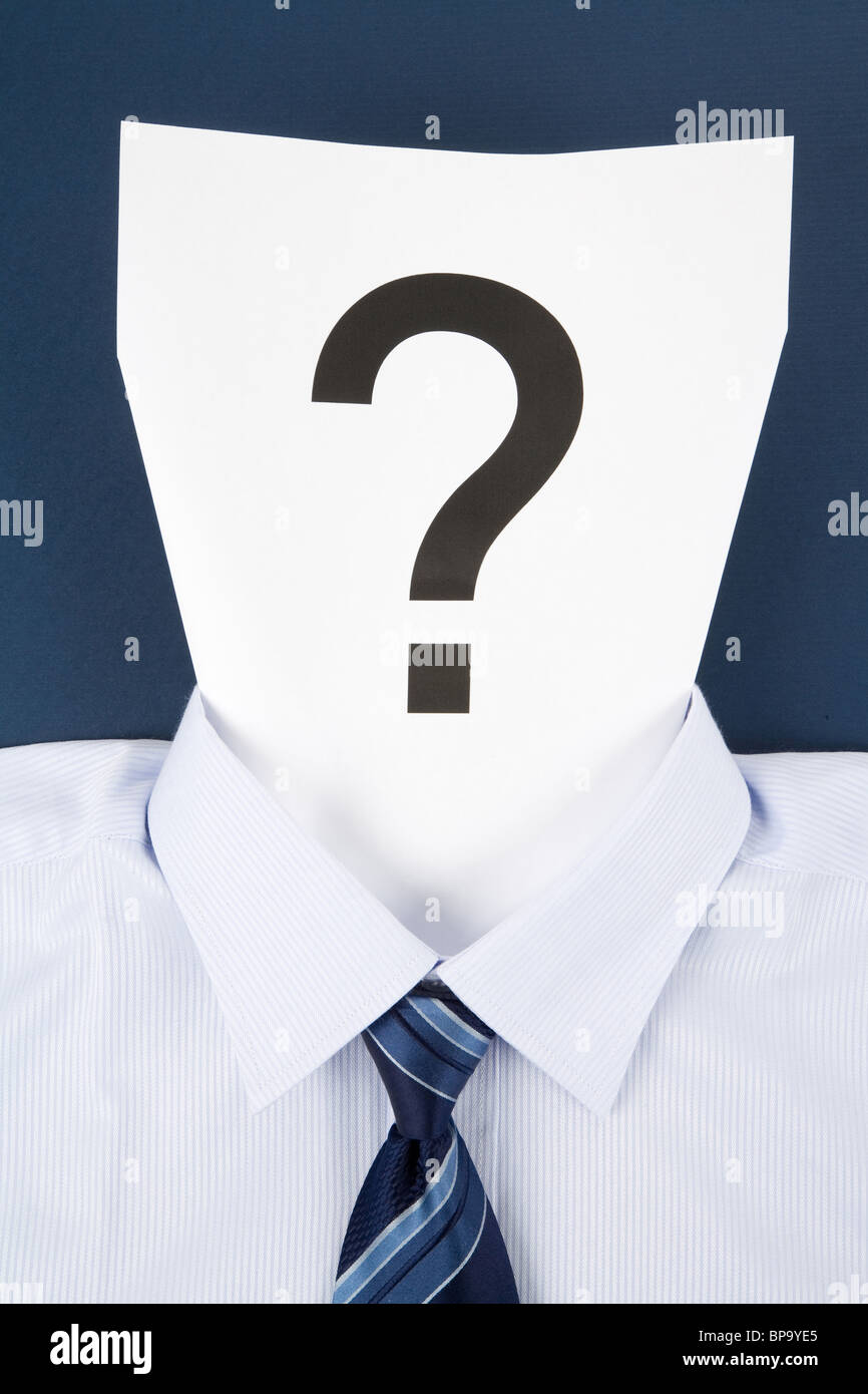 Paper Face and Question Mark, Business Concept - Stock Image