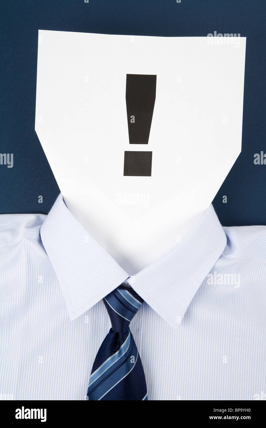 Paper Face and Exclamation Point, Business Concept - Stock Image