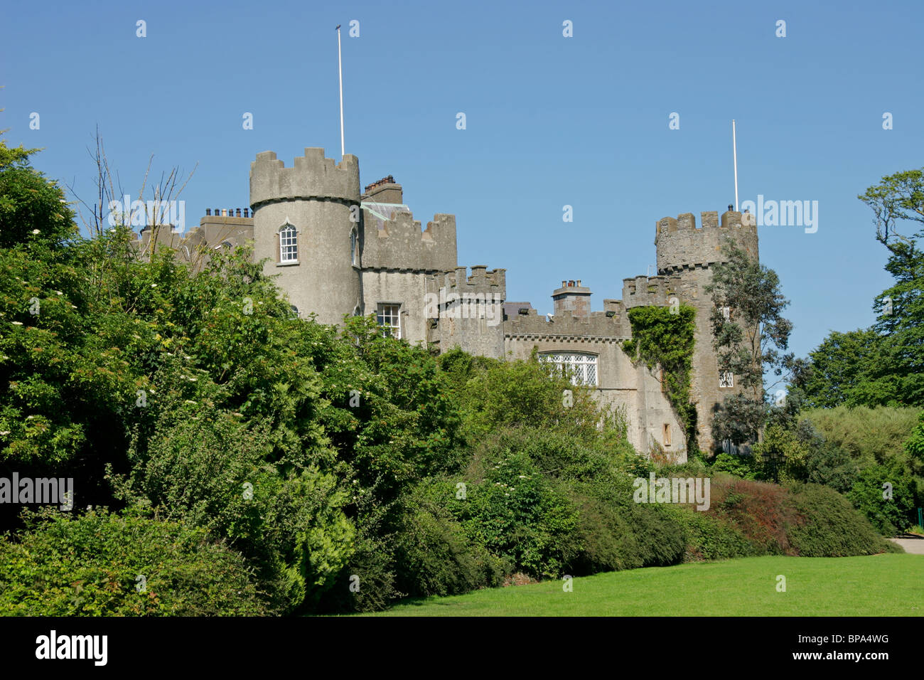 Front view of the historic 14 th century Malahide castle, Ireland, Europe - Stock Image