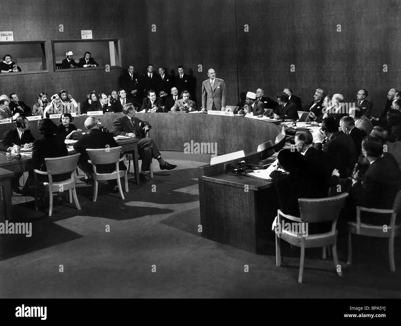 WORLD LEADERS CONFERENCE SCENE WHEN WORLDS COLLIDE (1951) - Stock Image