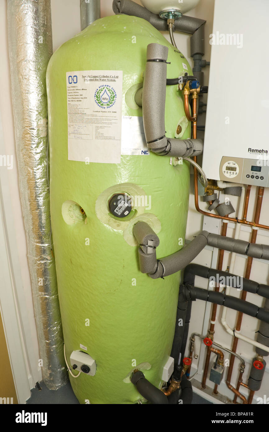 Energy Efficient Insulated Hot Water Tank With Small Booster Combi Stock Photo Alamy