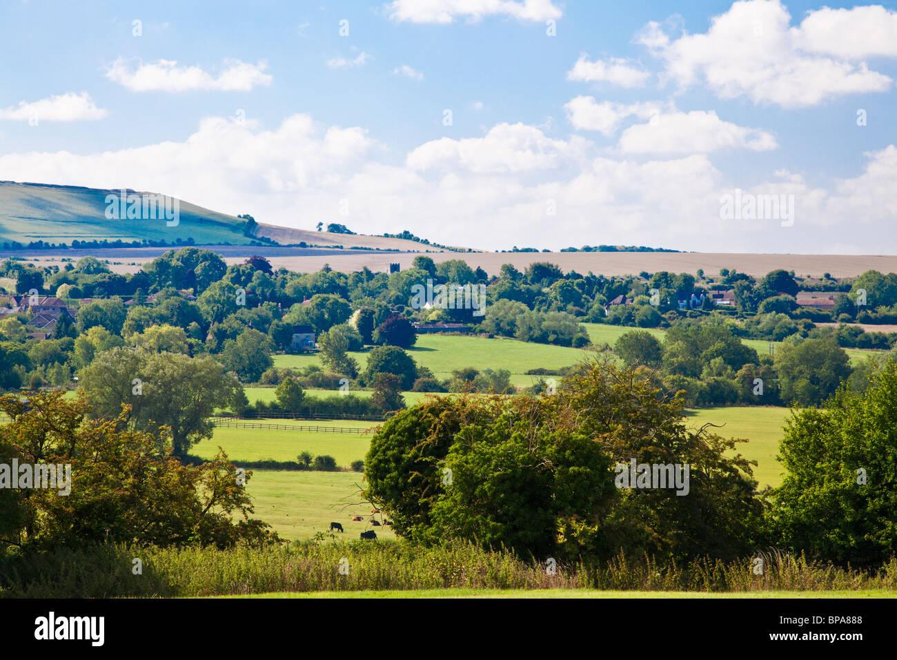 View from Upper Wanborough towards Liddington in Wiltshire, England, UK - Stock Image