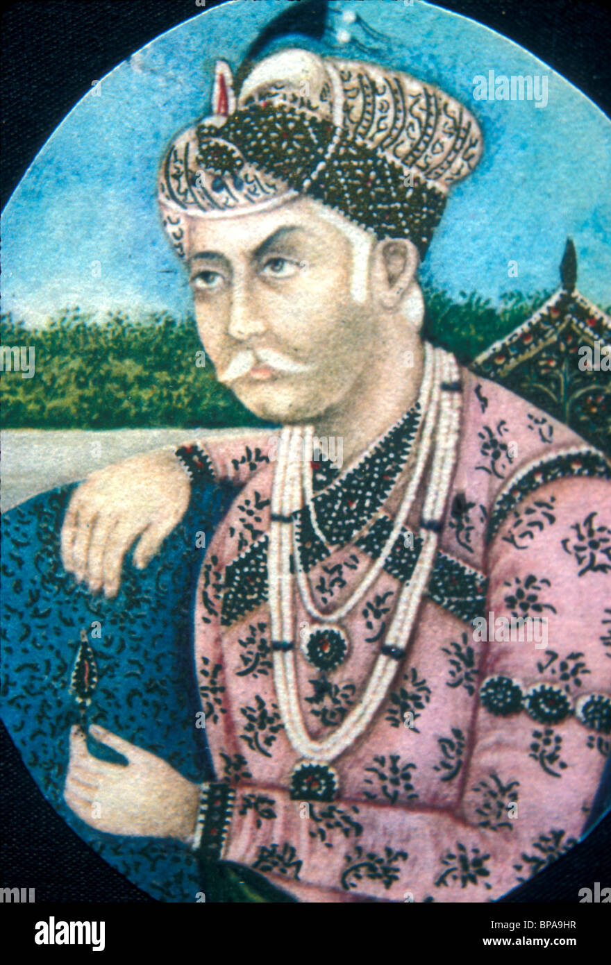Portrait of Jalal Ud-Din Akbar Mughal emperor of India in the 16th-17th centuries - Stock Image