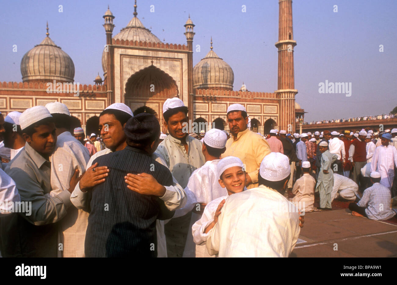 Muslims Greeting Each Other After Eid Ul Fitr Prayers On The First