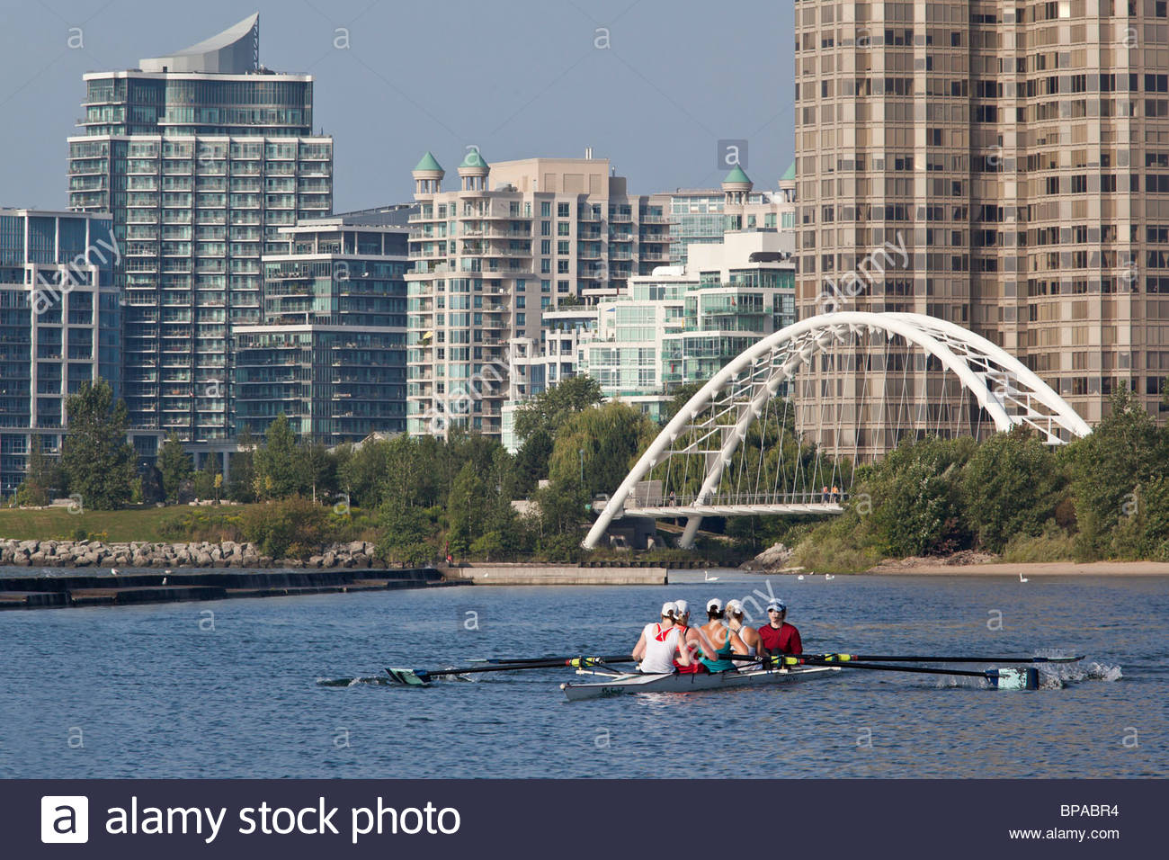 Women sweep rowers in a coxed four in front of condominiums at the mouth of the Humber River in Toronto Ontario - Stock Image