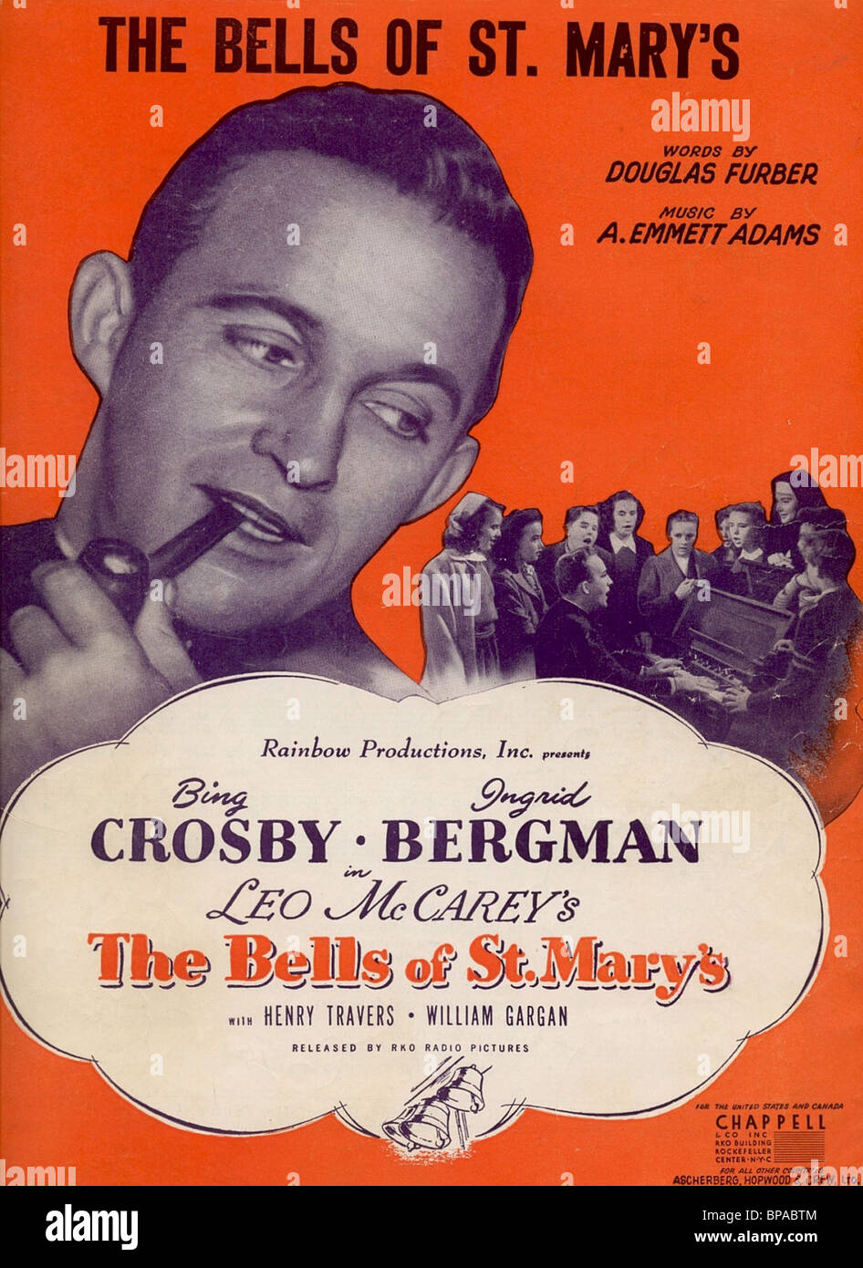 BING CROSBY FILM POSTER THE BELLS OF ST. MARY'S (1945) - Stock Image