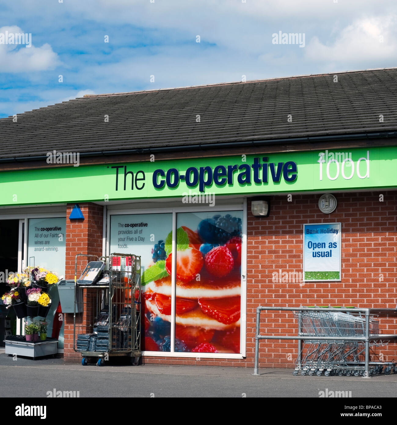 Co-operative food store in Hereford, Herefordshire, UK. Exterior of Co-op food shop. - Stock Image