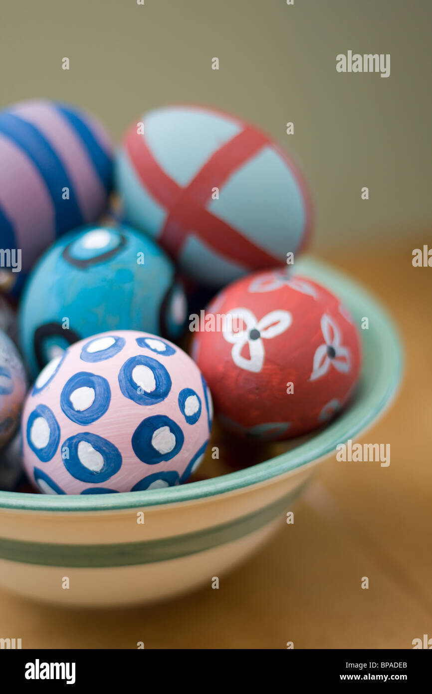 Hand painted easter eggs - Stock Image