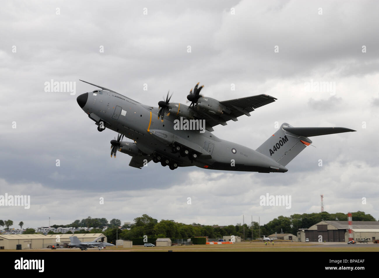 Airbus A400M ( Future Large Aircraft) Tactical Military Transport Aeroplane takes off to display at the RIAT Airshow - Stock Image