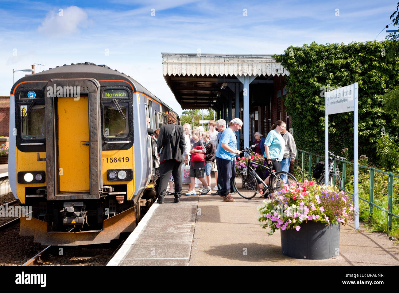 Wroxham railway station on the Bittern Line Norfolk - Stock Image