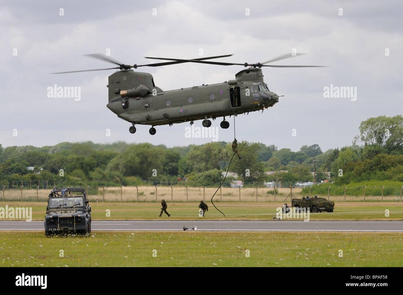 British Royal Air Force Boeing Chinook HC.2 demostrates its cababilities at the 2010 RIAT Royal International Air - Stock Image