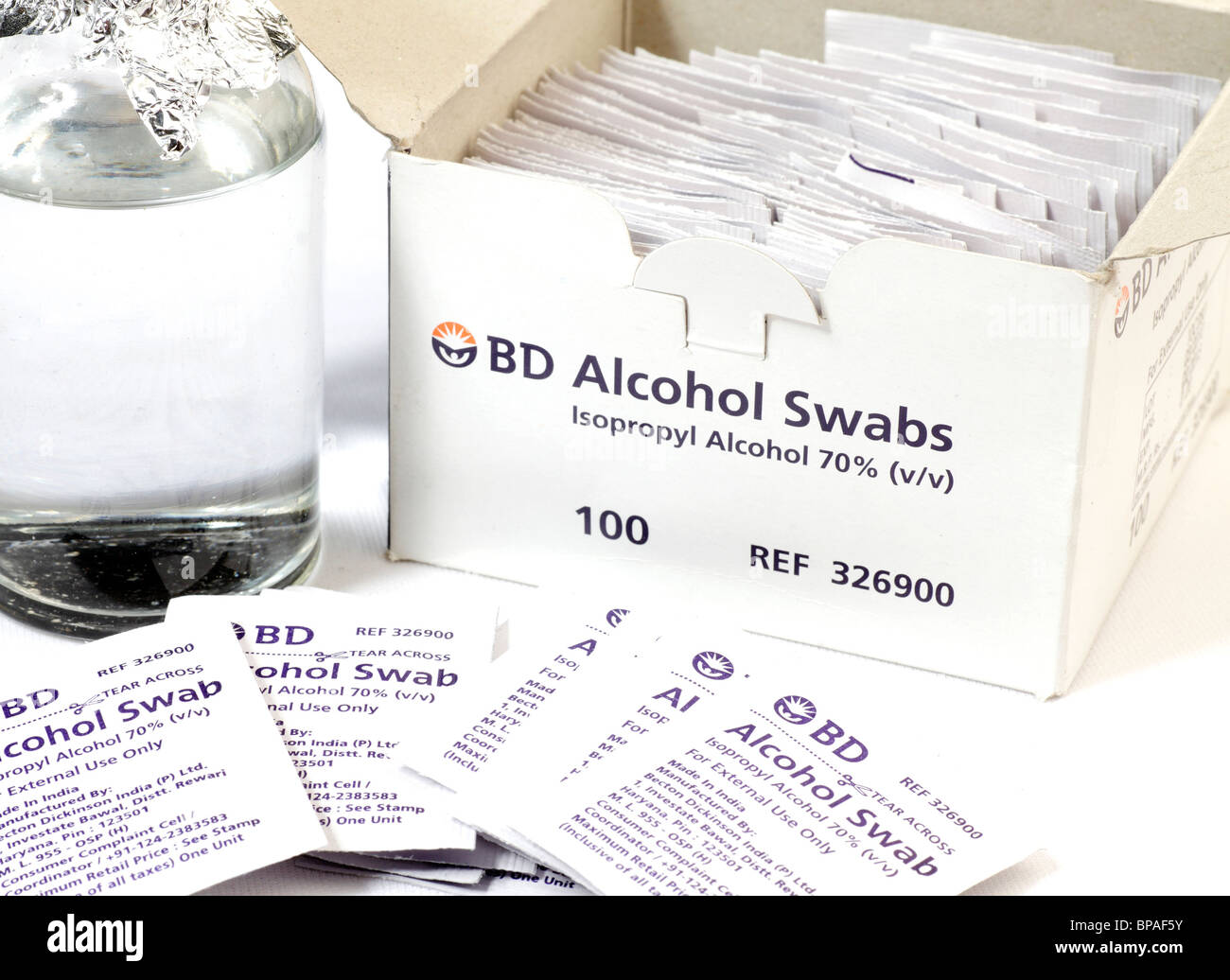 Iso-propyl alcohol swabs swab bottle disinfectant chemical clinic laboratory lab - Stock Image