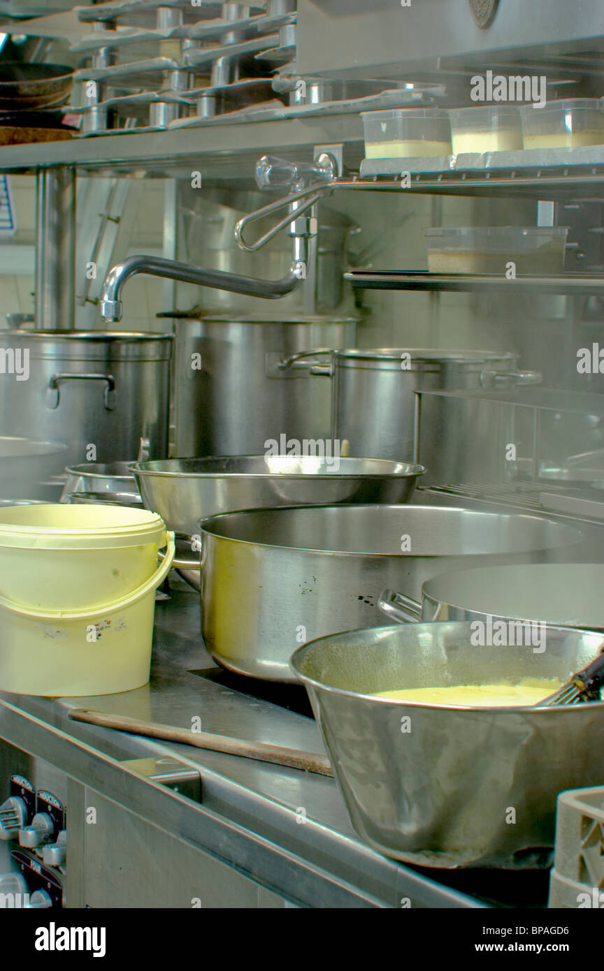 Paris, France, Haute-Cuisine French Restaurant in Eiffel Tower, Jules Verne. Detail Kitchen, Equipment. - Stock Image