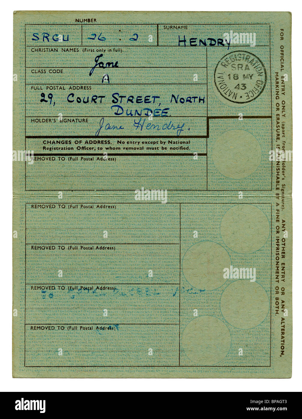Inside of British National Identity Card from World War 2 - Stock Image