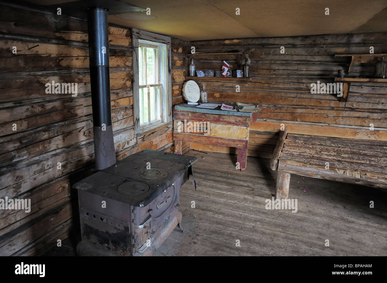 Inside Grey Owl's cabin, Prince Albert National Park. - Stock Image