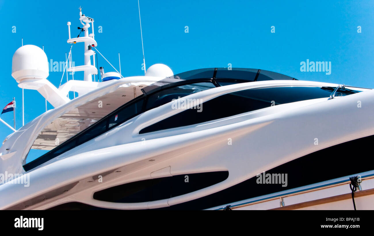 Detailview of a modern luxury yacht, - Stock Image