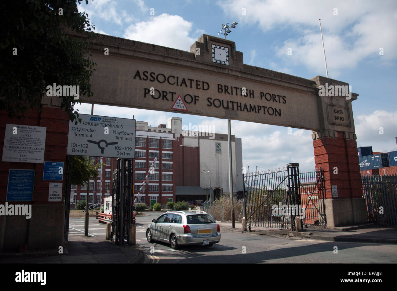 The Entrance to the Port of Southampton Docks in Southampton, England. - Stock Image