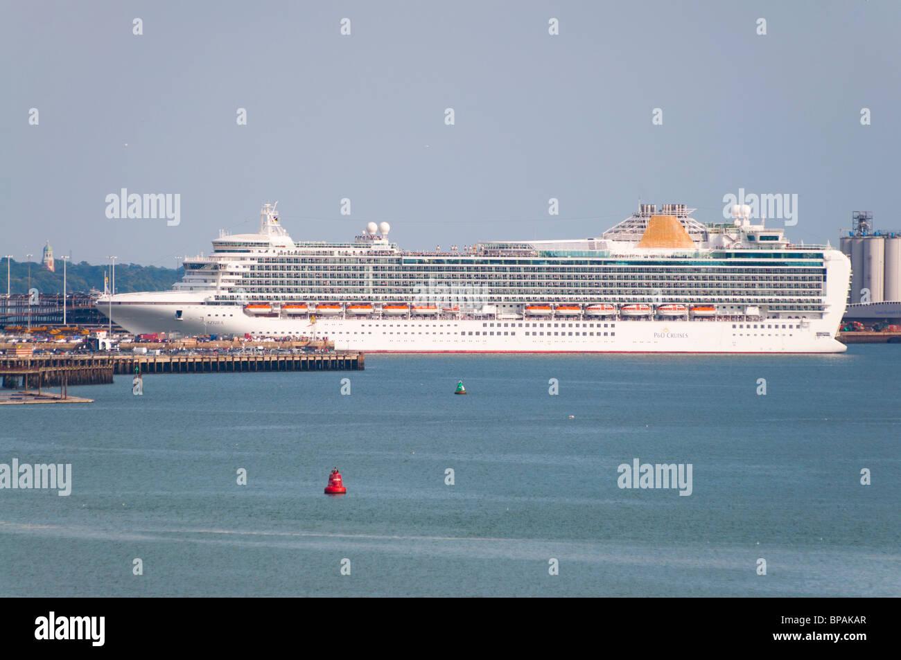 P&O's cruise ship 'Azura' in port at Southampton, England. - Stock Image