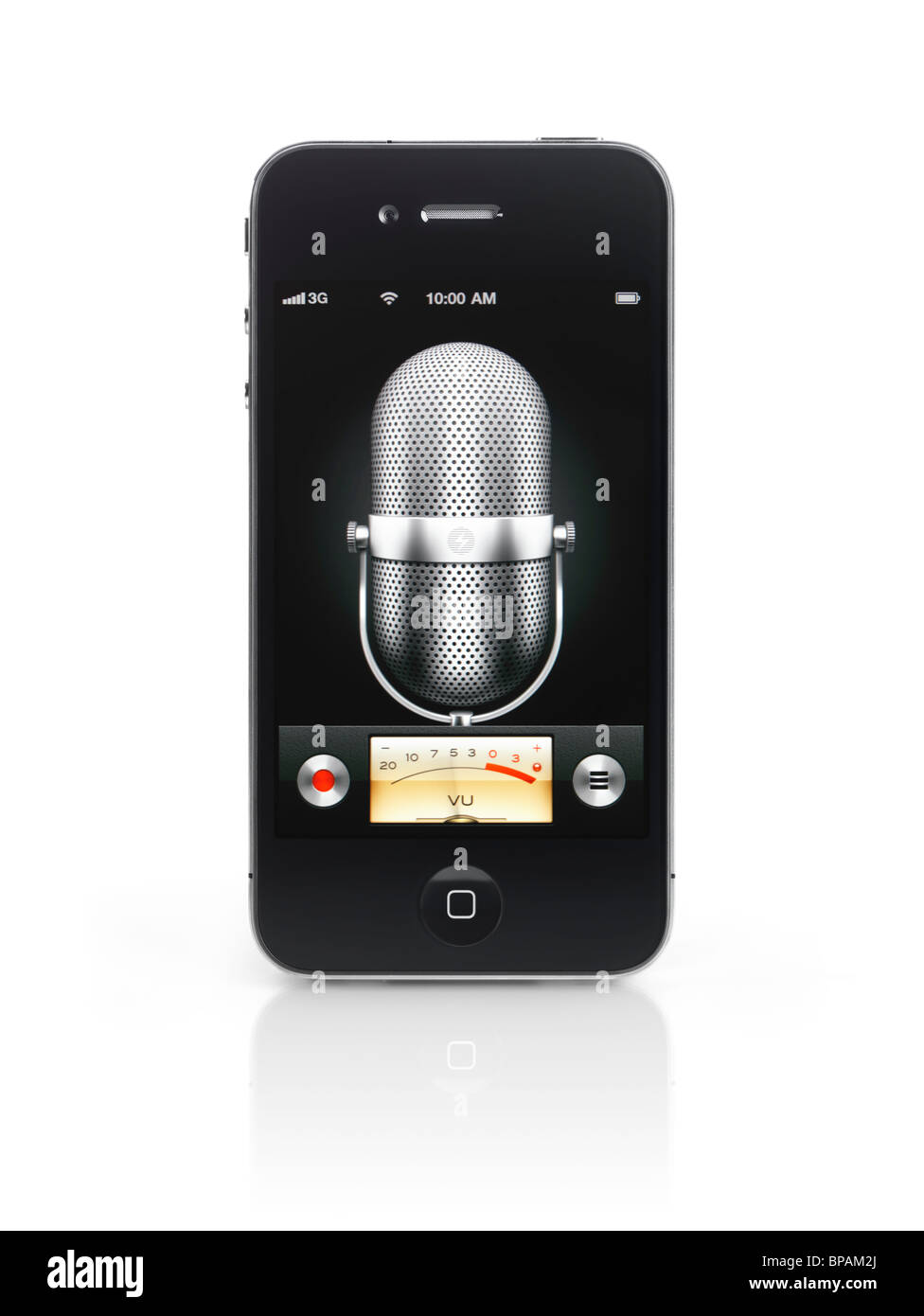 Apple iPhone 4 smartphone with Voice memo sound recorder app on its display isolated with clipping path on white - Stock Image