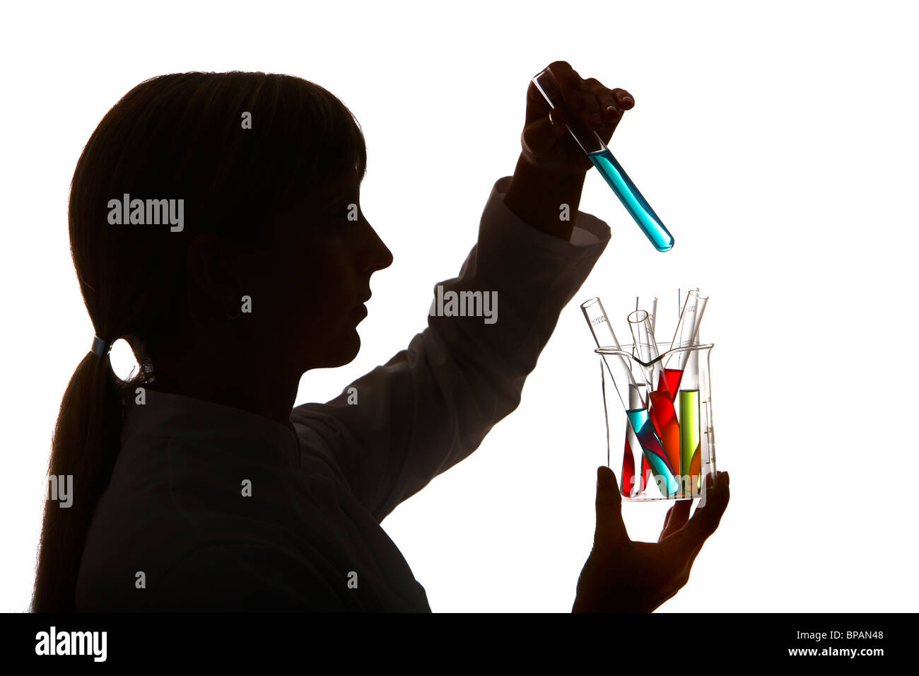 Laboratory assistants working in  a chemical laboratory. Working with different chemicals in test tubes. - Stock Image