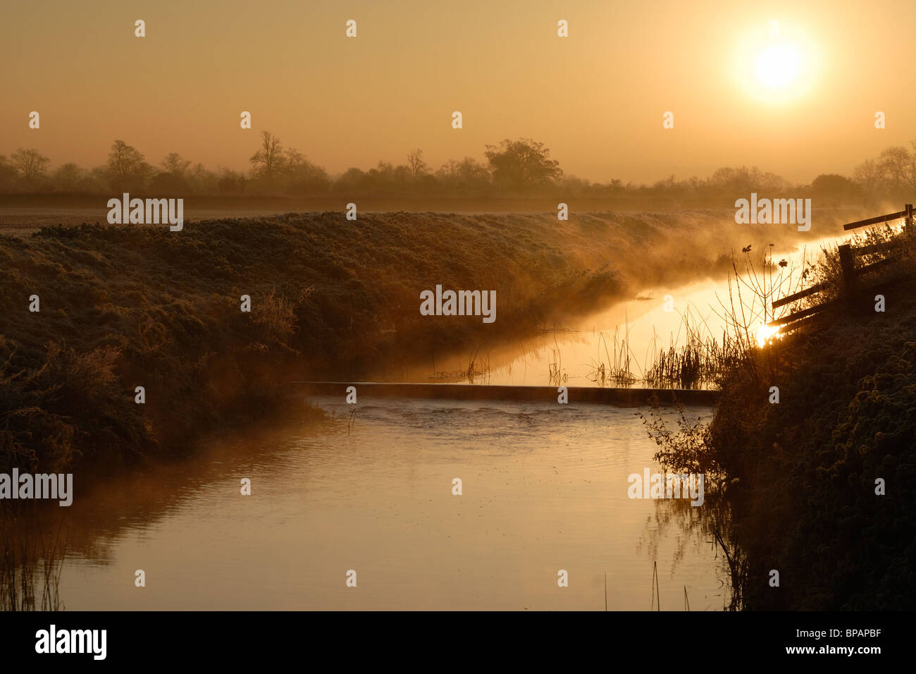 Mist rising off the River Brue in Baltonsborough, Somerset on a cold winter morning. Stock Photo