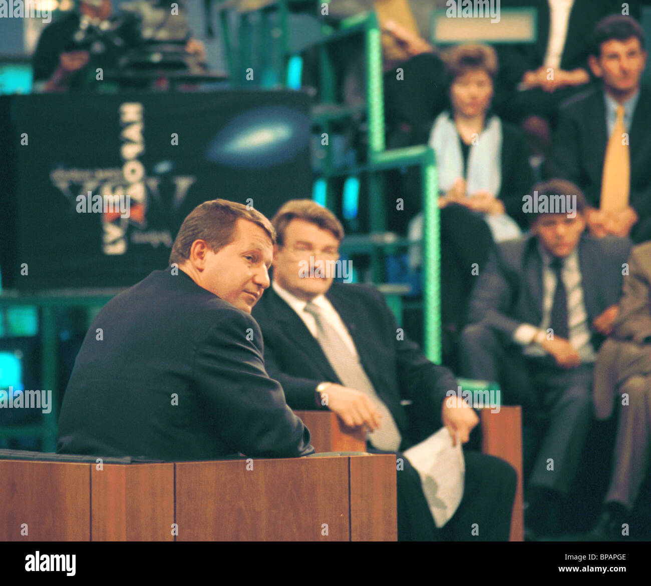 Live broadcast of the Voice of the People TV show on the NTV channel devoted to the conflict between Gazprom-Media - Stock Image
