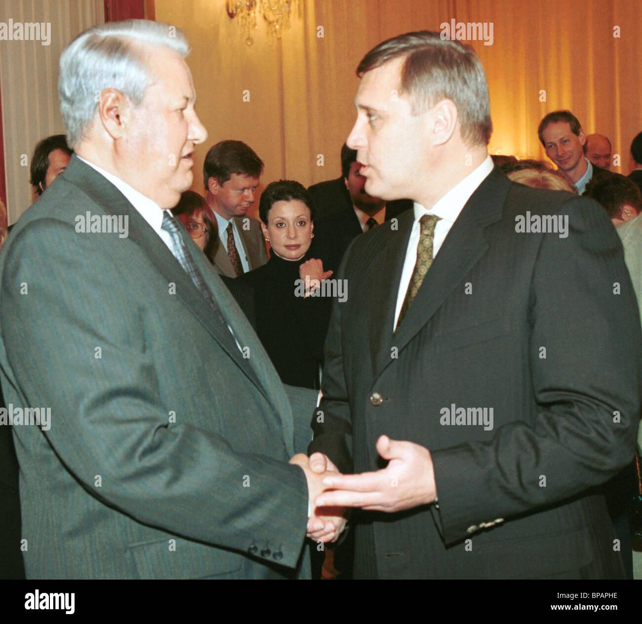 .Kasyanov wishes Yeltsin new literary successes - Stock Image