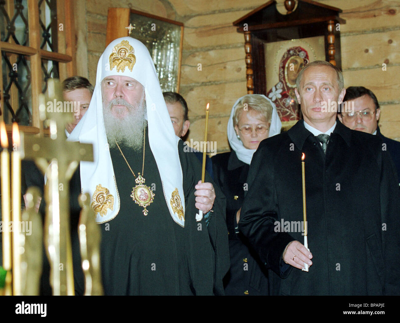 President Vladimir Putin & head of Russian Orthodox Church, Patriarch Alexy of Moscow & All Russia attend - Stock Image