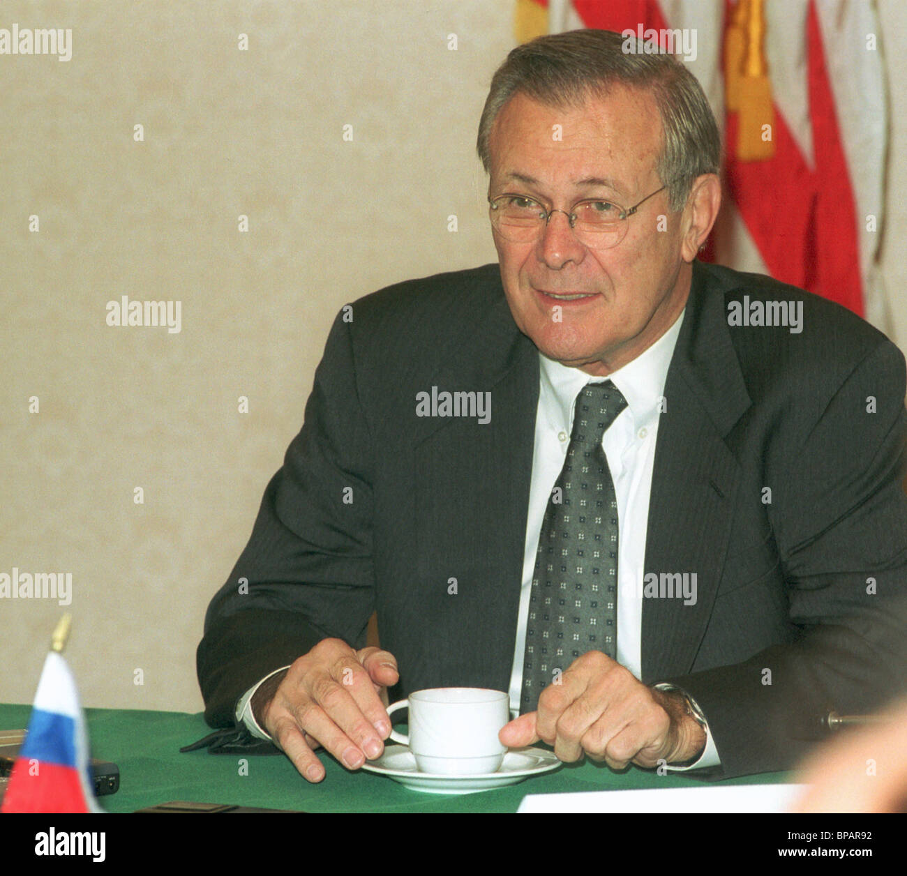 U.S. Defence Minister Donald Rumsfeld arrived in Moscow - Stock Image