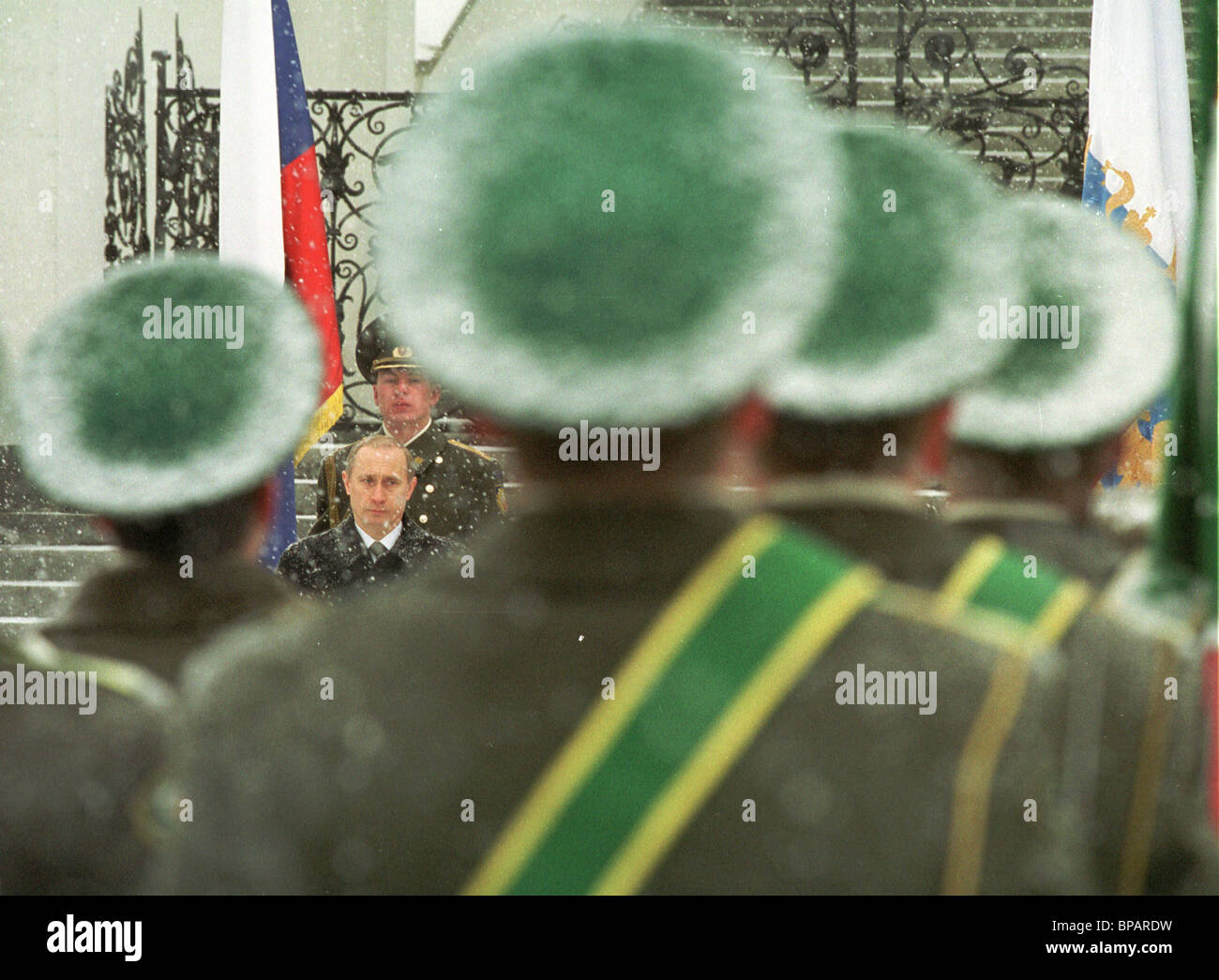 President of Russia Vladimir Putin attends the solemn ceremony on the Sobor square devoted to the Day of Defenders - Stock Image