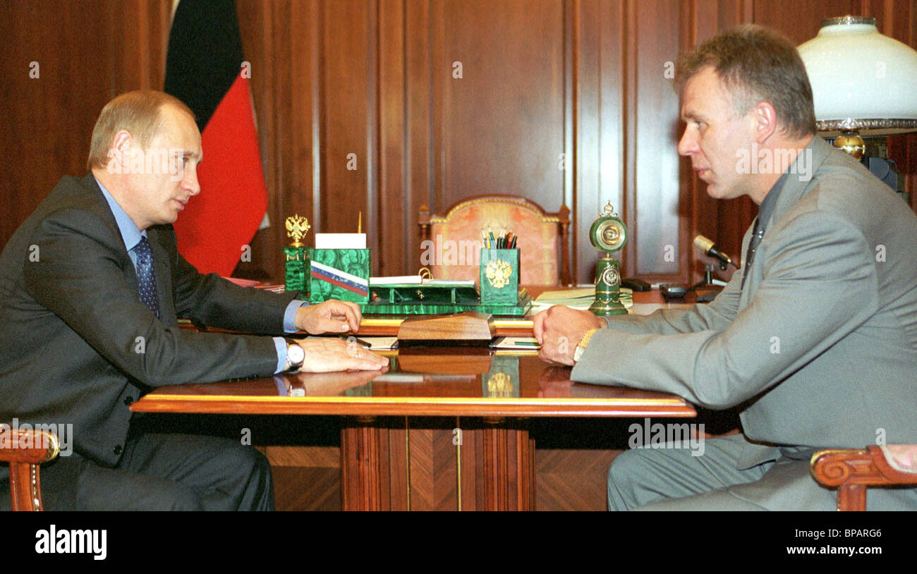 President Putin meets with Vyacheslav Fetisov, discussing development of sport in Russia. - Stock Image