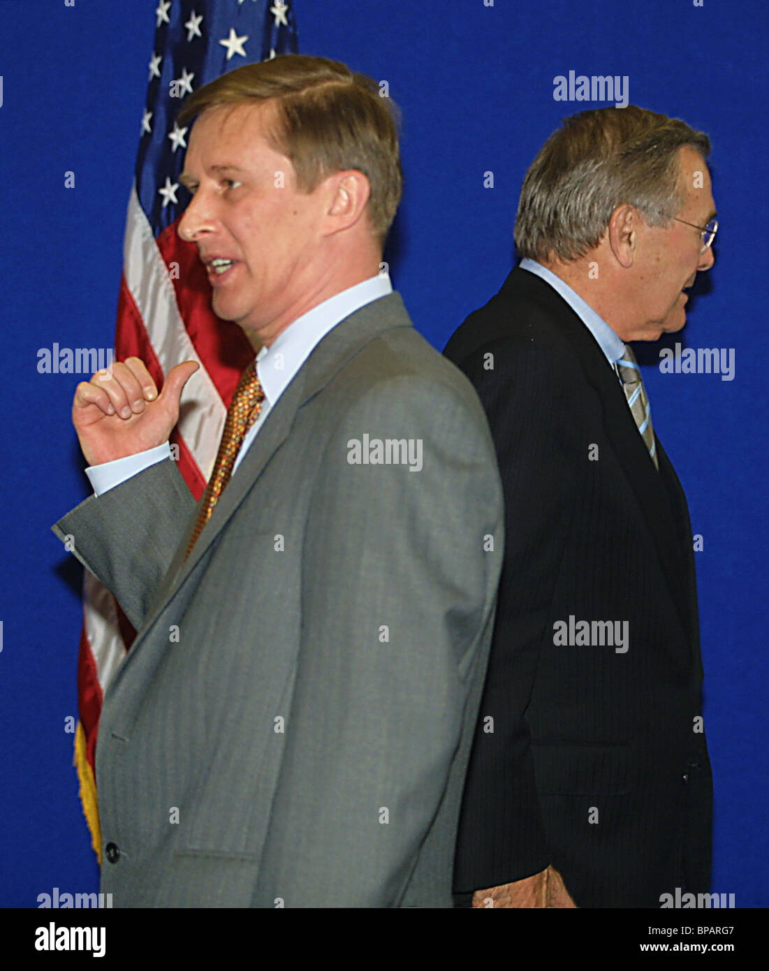 Meeting of Russian Defense Minister Sergei Ivanov with US Defense Secretary Donald Rumsfeld at Moscow's airport - Stock Image