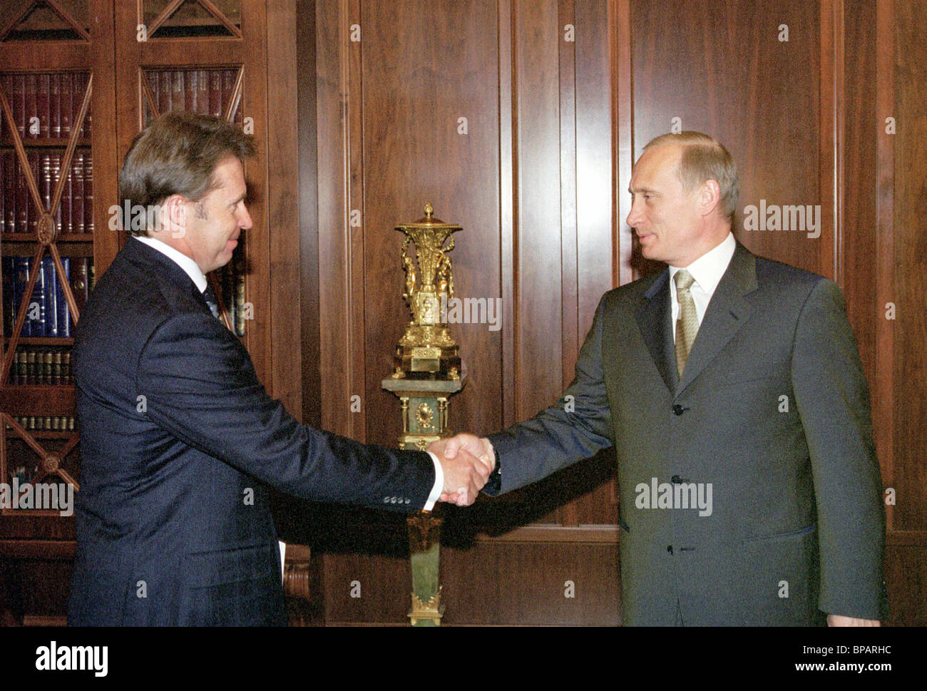 Rosneft president reports to Putin on company's affairs. - Stock Image