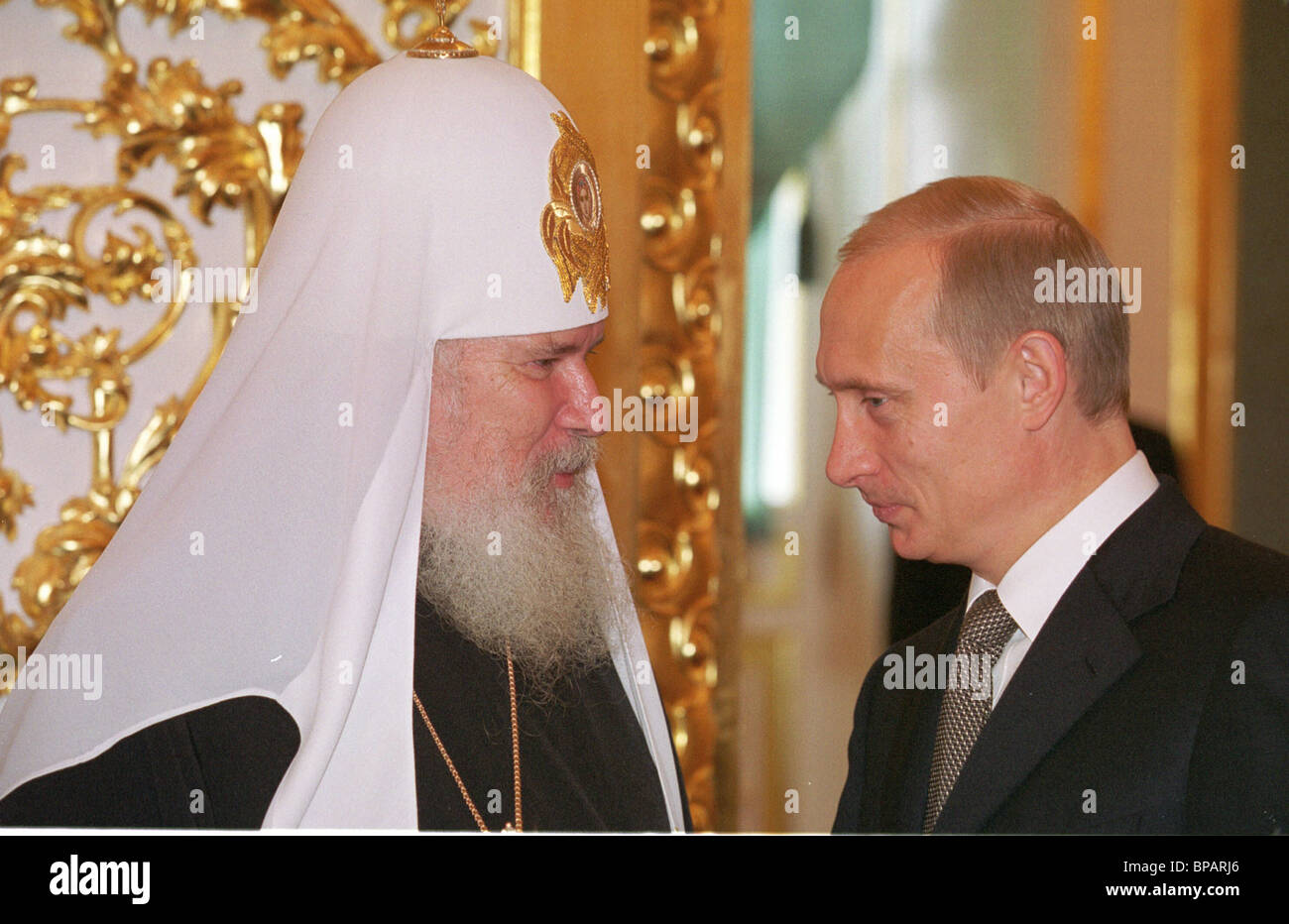 President Putin and Patriarch Alexy II at the state reception in the Kremlin. - Stock Image