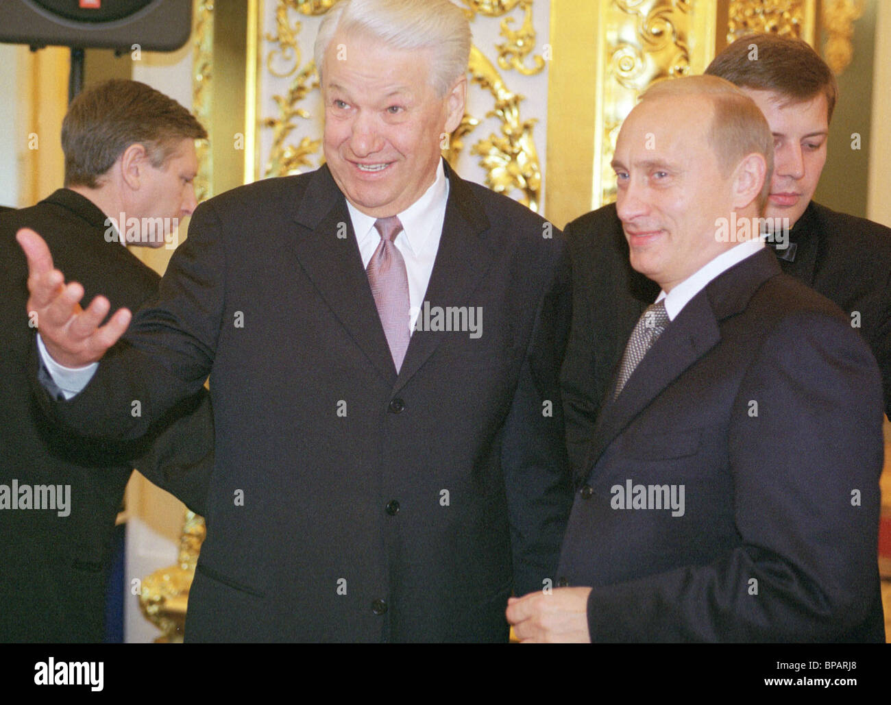 Putin and Yeltsin at the state reception in the Kremlin. - Stock Image