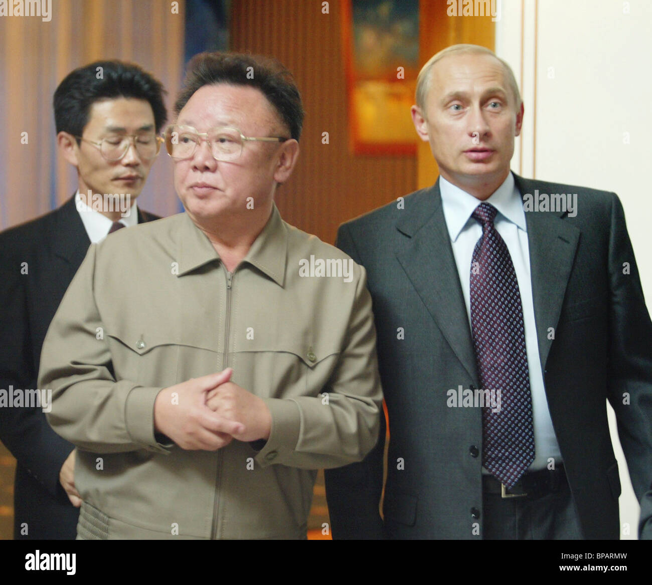 Putin Kim Jong Il Meet In Vladivostok Stock Photo Alamy