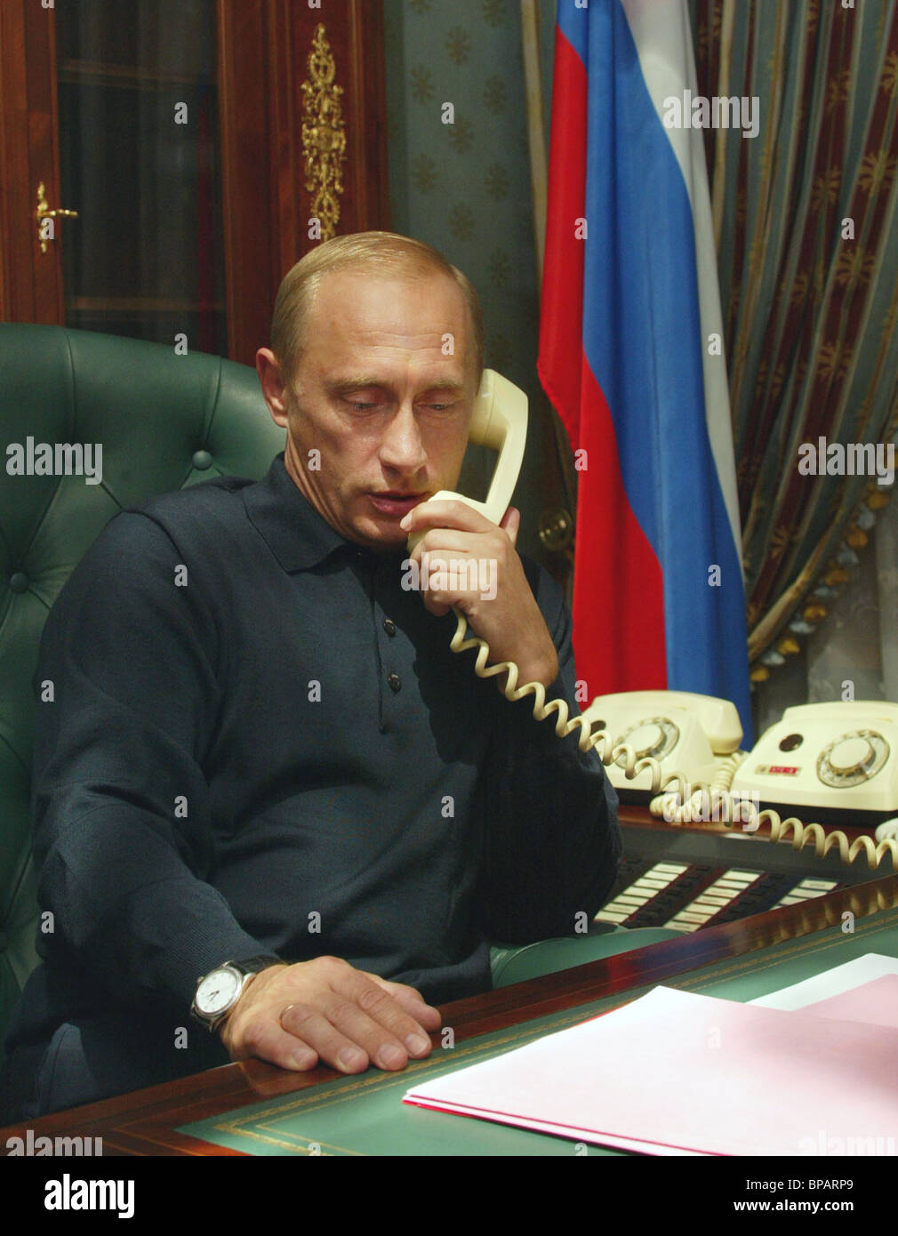 President of Russia Vladimir Putin during his telephone talk with President of the USA - Stock Image
