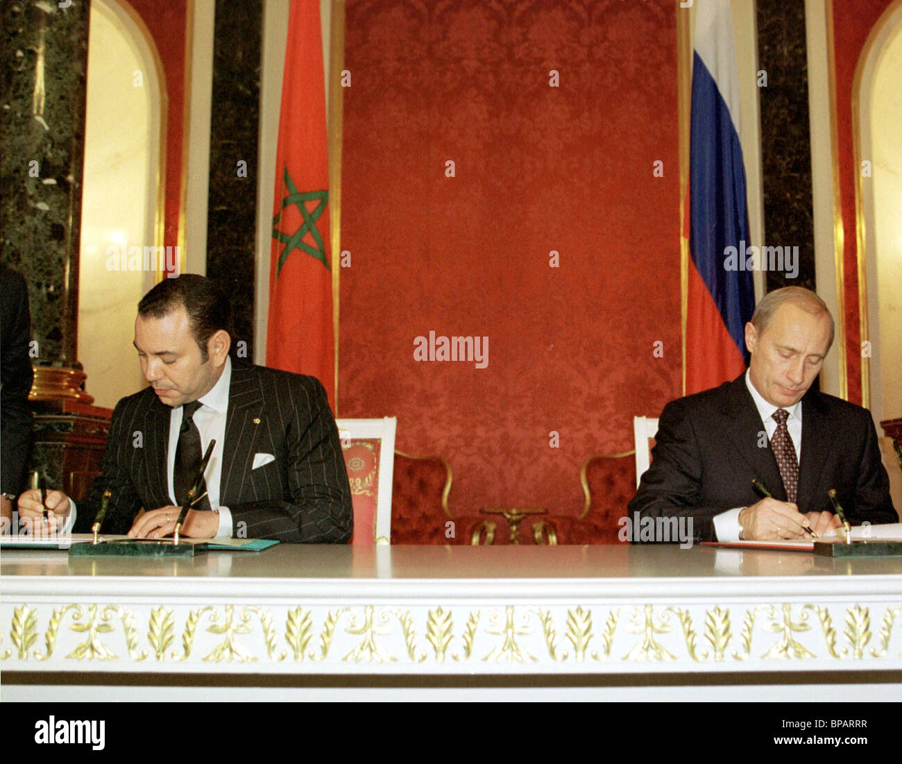Meeting of President of Russia Vladimir Putin with King of Morocco Mohammed VI - Stock Image