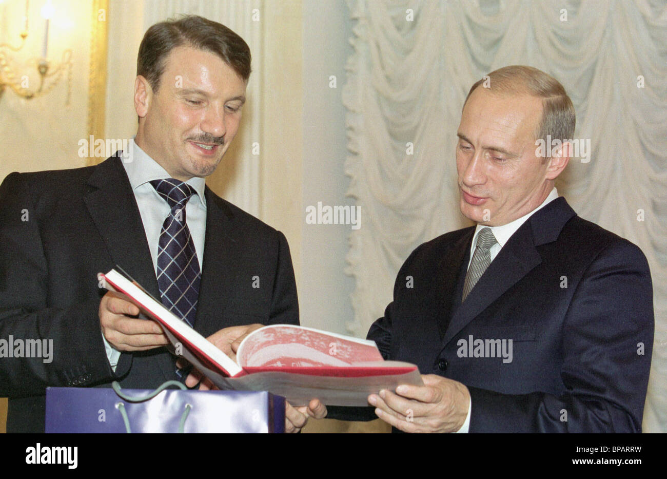 Putin and Gref at a meeting in the Kremlin. - Stock Image
