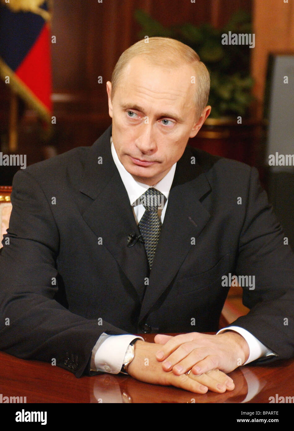 President Vladimir Putin addresses the population of the country - Stock Image