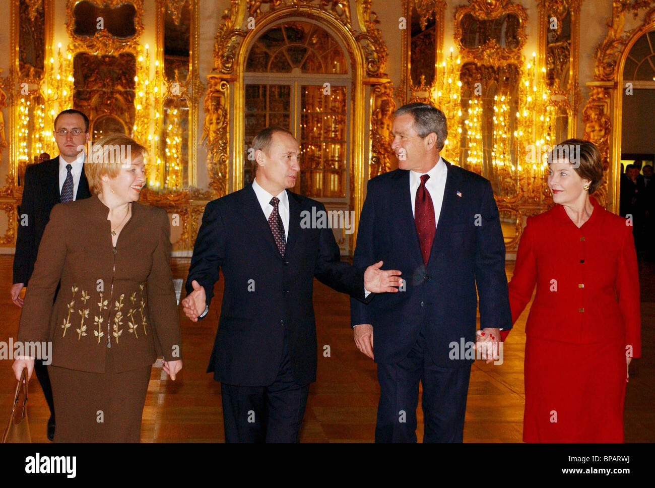 Putin and Bush at the Catherine Palace - Stock Image